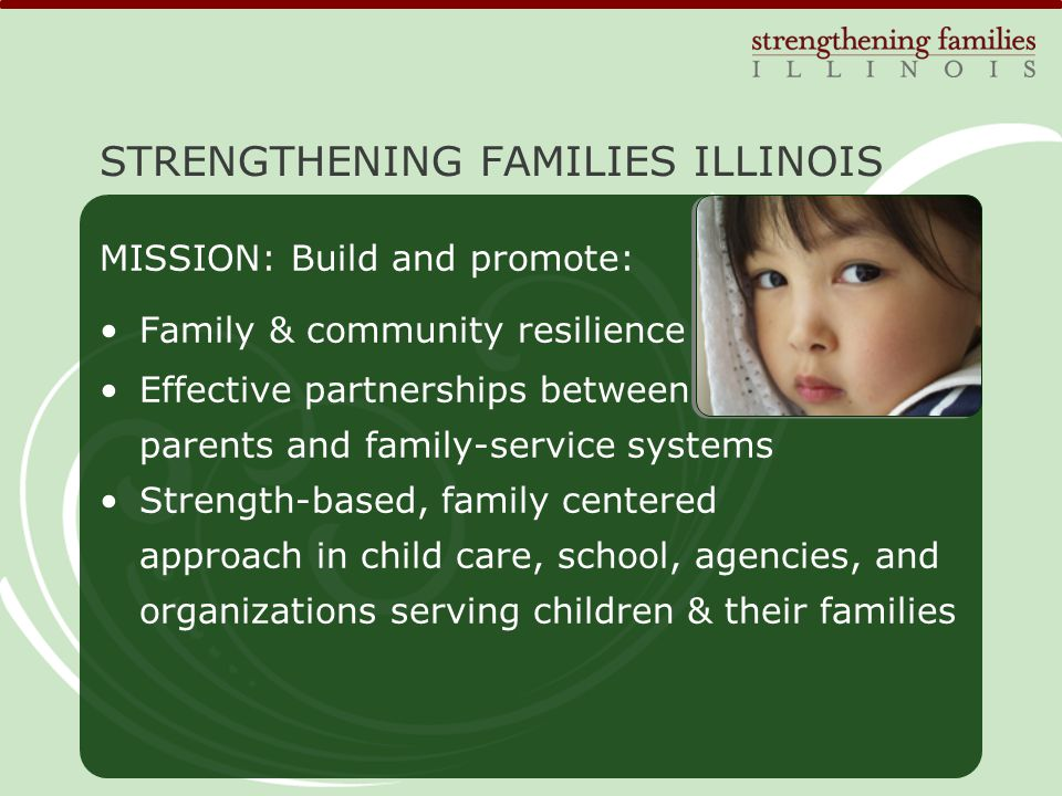 4 COMPONENTS: 1.Early childhood 2.Collaboration on systems change with child and family serving agencies and organizations statewide 3.Assistance with embedding the protective factors approach in the child welfare system 4.Parent engagement STRENGTHENING FAMILIES ILLINOIS