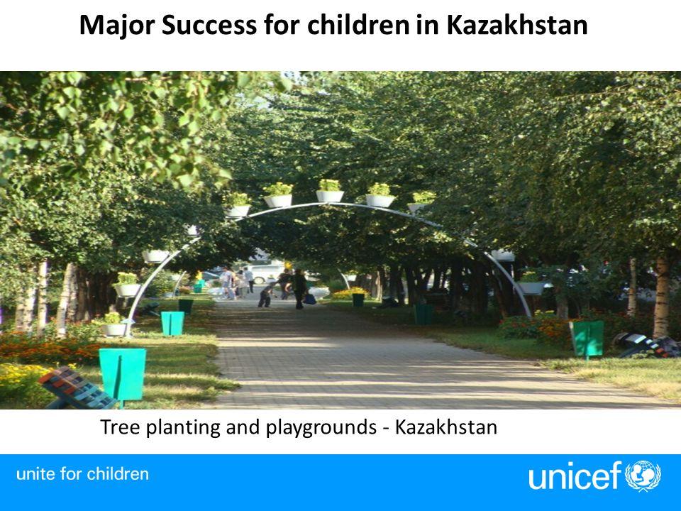 Major Success for children in Kazakhstan Tree planting and playgrounds - Kazakhstan
