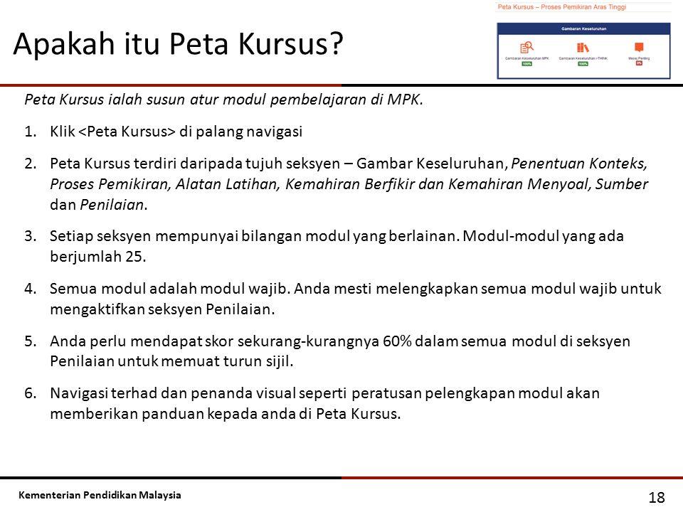 Kementerian Pendidikan Malaysia Apakah itu Peta Kursus? 18 Peta Kursus ialah susun atur modul pembelajaran di MPK. 1.Klik di palang navigasi 2.Peta Ku