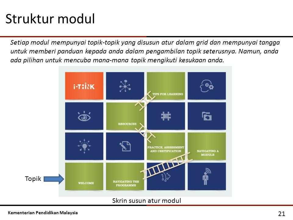 Kementerian Pendidikan Malaysia Struktur modul 21 Setiap modul mempunyai topik-topik yang disusun atur dalam grid dan mempunyai tangga untuk memberi p