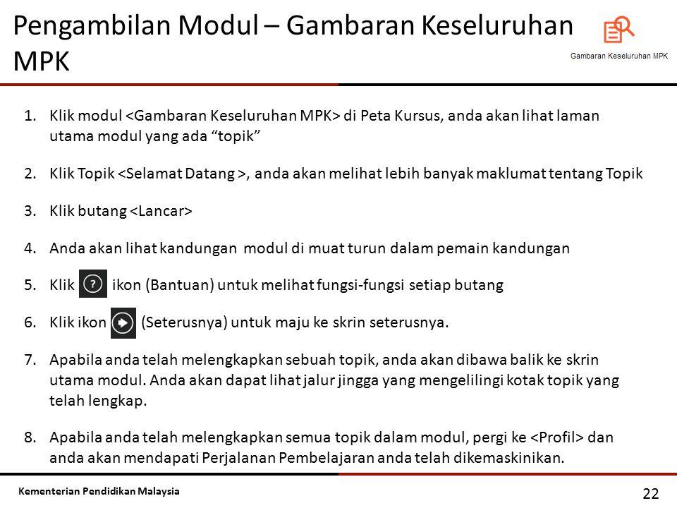 Kementerian Pendidikan Malaysia Pengambilan Modul – Gambaran Keseluruhan MPK 22 1.Klik modul di Peta Kursus, anda akan lihat laman utama modul yang ad