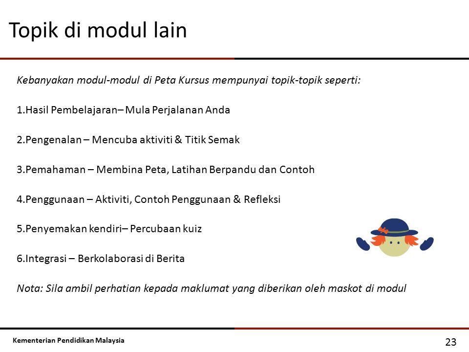 Kementerian Pendidikan Malaysia Kebanyakan modul-modul di Peta Kursus mempunyai topik-topik seperti: 1.Hasil Pembelajaran– Mula Perjalanan Anda 2.Peng