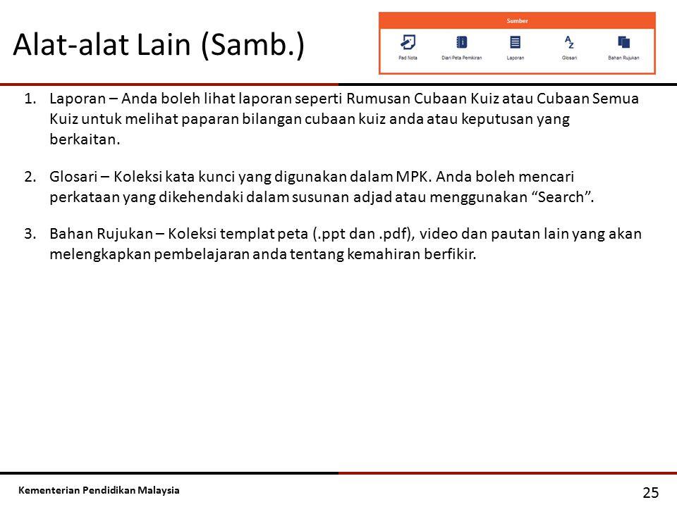 Kementerian Pendidikan Malaysia Alat-alat Lain (Samb.) 25 1.Laporan – Anda boleh lihat laporan seperti Rumusan Cubaan Kuiz atau Cubaan Semua Kuiz untu