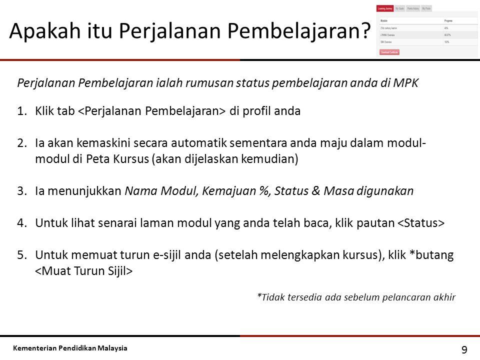 Kementerian Pendidikan Malaysia 9 Perjalanan Pembelajaran ialah rumusan status pembelajaran anda di MPK 1.Klik tab di profil anda 2.Ia akan kemaskini