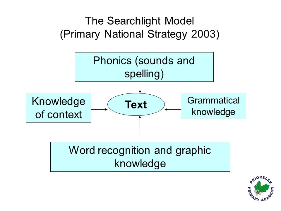 Text Phonics (sounds and spelling) Word recognition and graphic knowledge Grammatical knowledge Knowledge of context The Searchlight Model (Primary Na