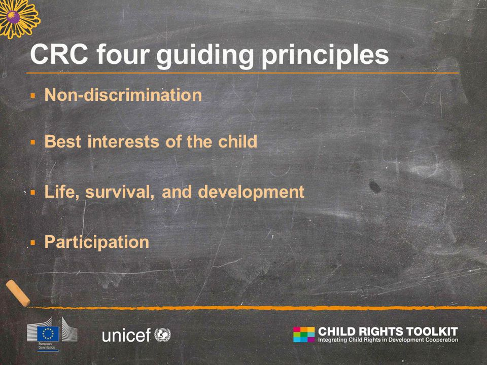  Non-discrimination  Best interests of the child  Life, survival, and development  Participation