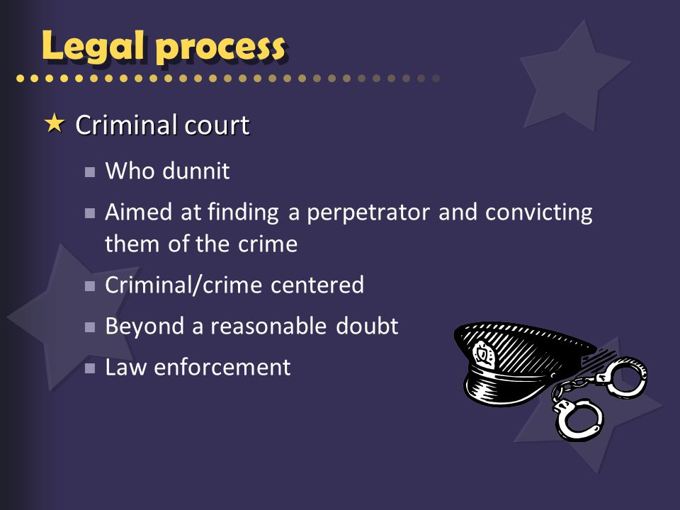 Legal process  Criminal court Who dunnit Aimed at finding a perpetrator and convicting them of the crime Criminal/crime centered Beyond a reasonable doubt Law enforcement