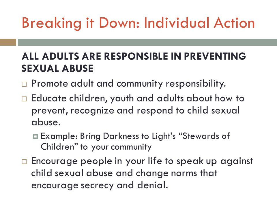 Breaking it Down: Individual Action ALL ADULTS ARE RESPONSIBLE IN PREVENTING SEXUAL ABUSE  Promote adult and community responsibility.