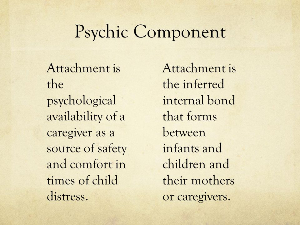 Psychic Component Attachment is the psychological availability of a caregiver as a source of safety and comfort in times of child distress.