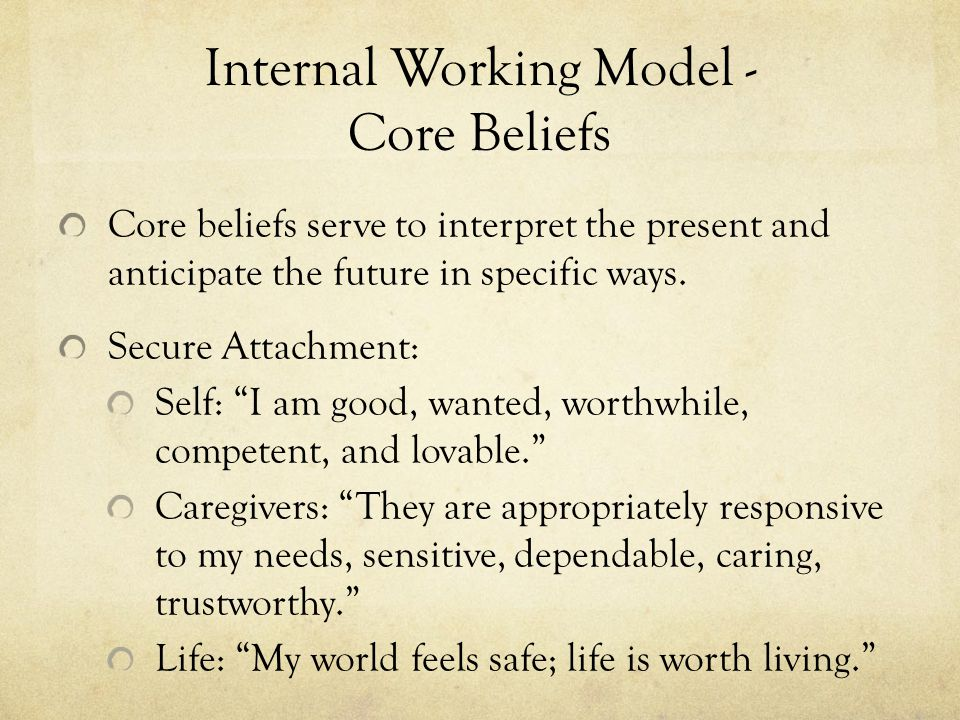 Internal Working Model - Core Beliefs Core beliefs serve to interpret the present and anticipate the future in specific ways.