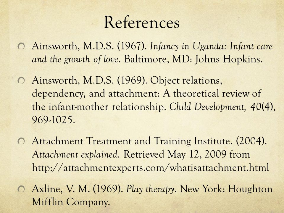References Ainsworth, M.D.S.(1967). Infancy in Uganda: Infant care and the growth of love.