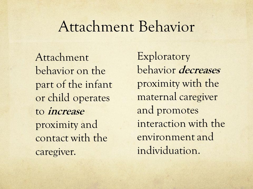 Attachment Behavior Attachment behavior on the part of the infant or child operates to increase proximity and contact with the caregiver.