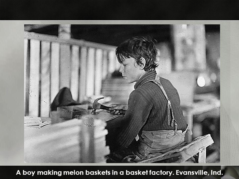 A boy making melon baskets in a basket factory. Evansville, Ind.