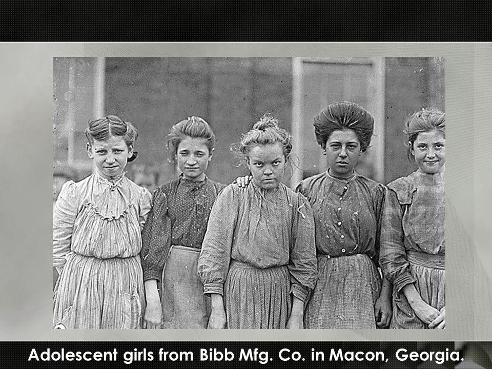 Adolescent girls from Bibb Mfg. Co. in Macon, Georgia.