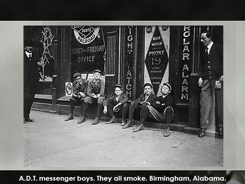 A.D.T. messenger boys. They all smoke. Birmingham, Alabama.