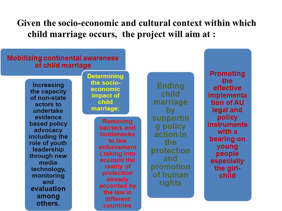 Given the socio-economic and cultural context within which child marriage occurs, the project will aim at : Mobilizing continental awareness of child marriage Increasing the capacity of non-state actors to undertake evidence based policy advocacy including the role of youth leadership through new media technology, monitoring and evaluation among others.