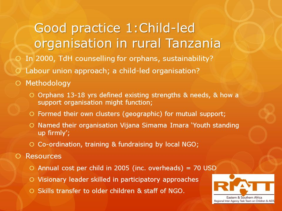 Good practice 1:Child-led organisation in rural Tanzania  In 2000, TdH counselling for orphans, sustainability.