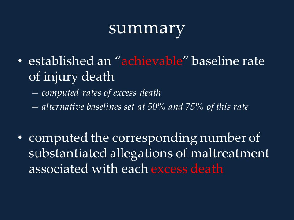 """summary established an """"achievable"""" baseline rate of injury death – computed rates of excess death – alternative baselines set at 50% and 75% of this"""