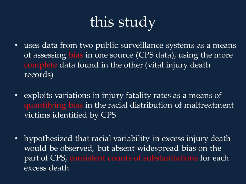 this study uses data from two public surveillance systems as a means of assessing bias in one source (CPS data), using the more complete data found in