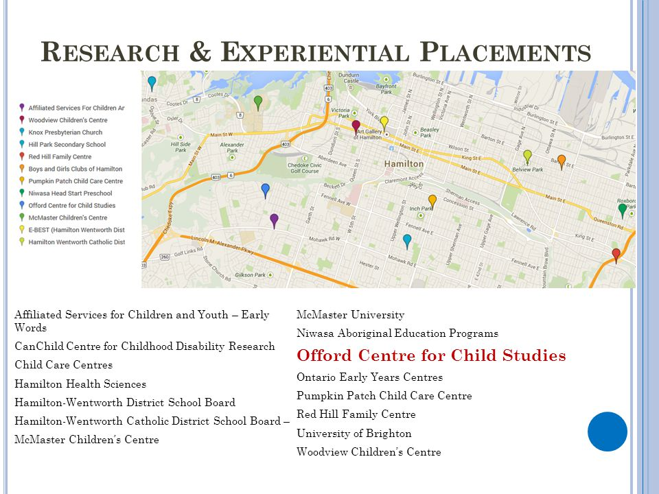 R ESEARCH & E XPERIENTIAL P LACEMENTS Affiliated Services for Children and Youth – Early Words CanChild Centre for Childhood Disability Research Child