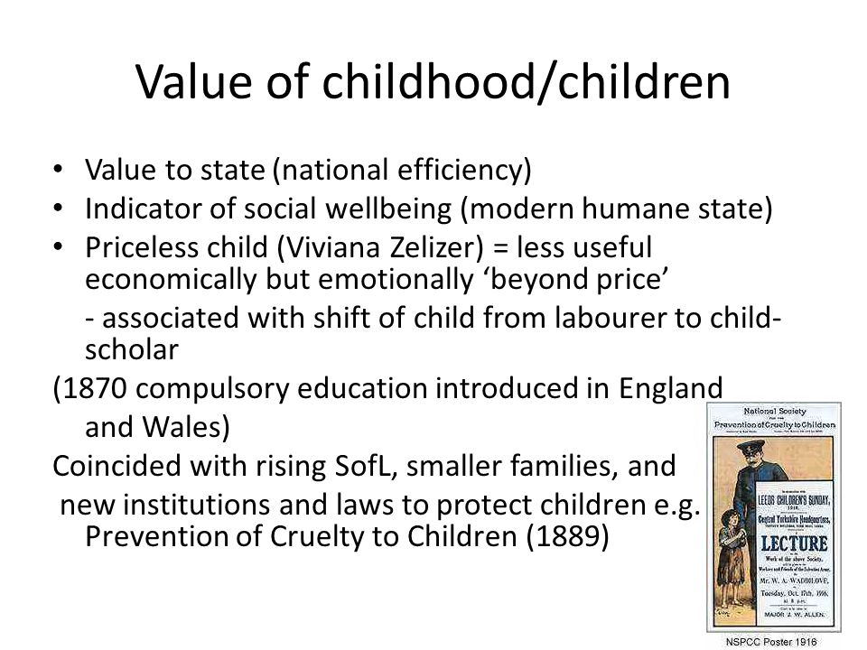 Value of childhood/children Value to state (national efficiency) Indicator of social wellbeing (modern humane state) Priceless child (Viviana Zelizer) = less useful economically but emotionally 'beyond price' - associated with shift of child from labourer to child- scholar (1870 compulsory education introduced in England and Wales) Coincided with rising SofL, smaller families, and new institutions and laws to protect children e.g.