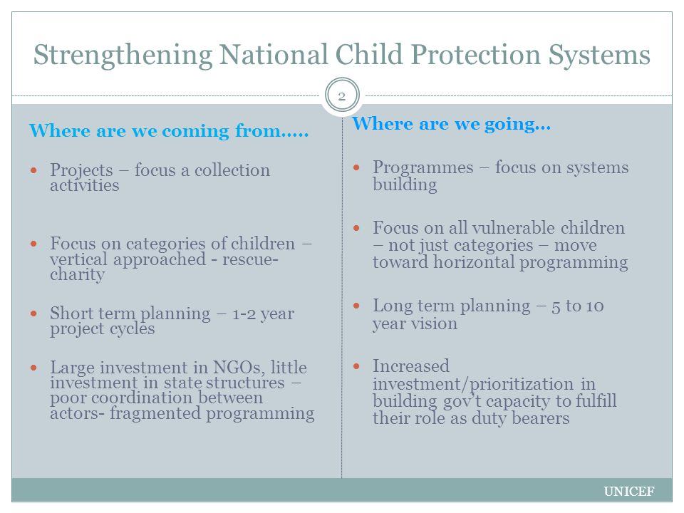 Strengthening National Child Protection Systems Where are we coming from…..