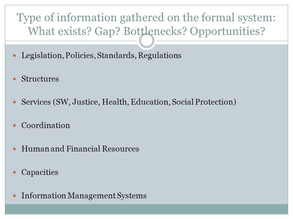 Type of information gathered on the formal system: What exists? Gap? Bottlenecks? Opportunities? Legislation, Policies, Standards, Regulations Structu