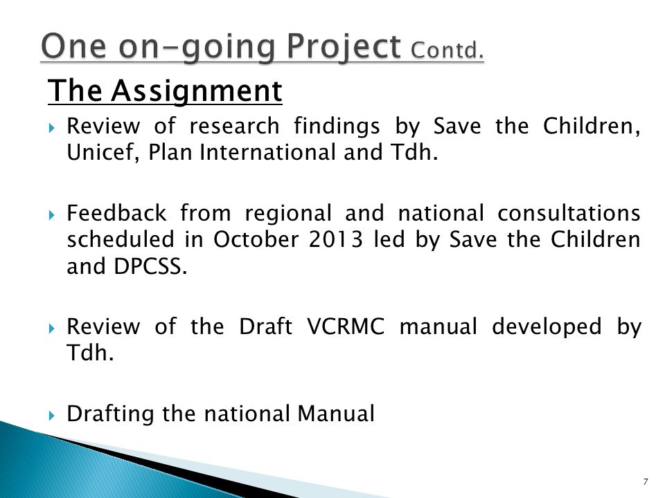 The Assignment  Review of research findings by Save the Children, Unicef, Plan International and Tdh.