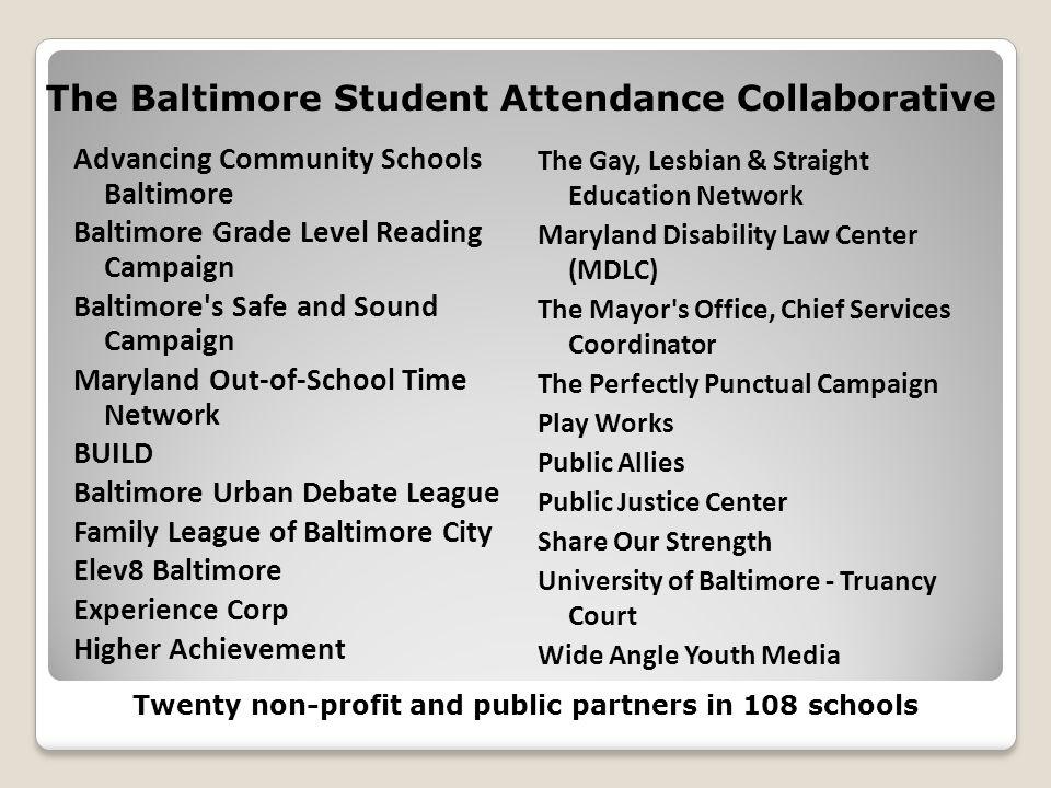 The Baltimore Student Attendance Collaborative Advancing Community Schools Baltimore Baltimore Grade Level Reading Campaign Baltimore's Safe and Sound