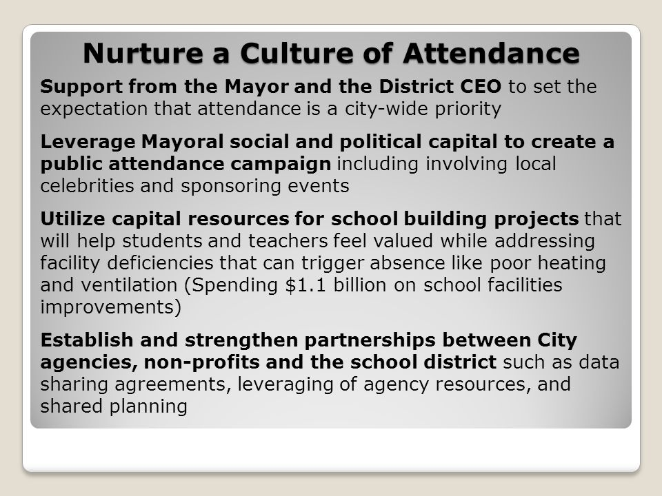rture a Culture of Attendance Nurture a Culture of Attendance Support from the Mayor and the District CEO to set the expectation that attendance is a