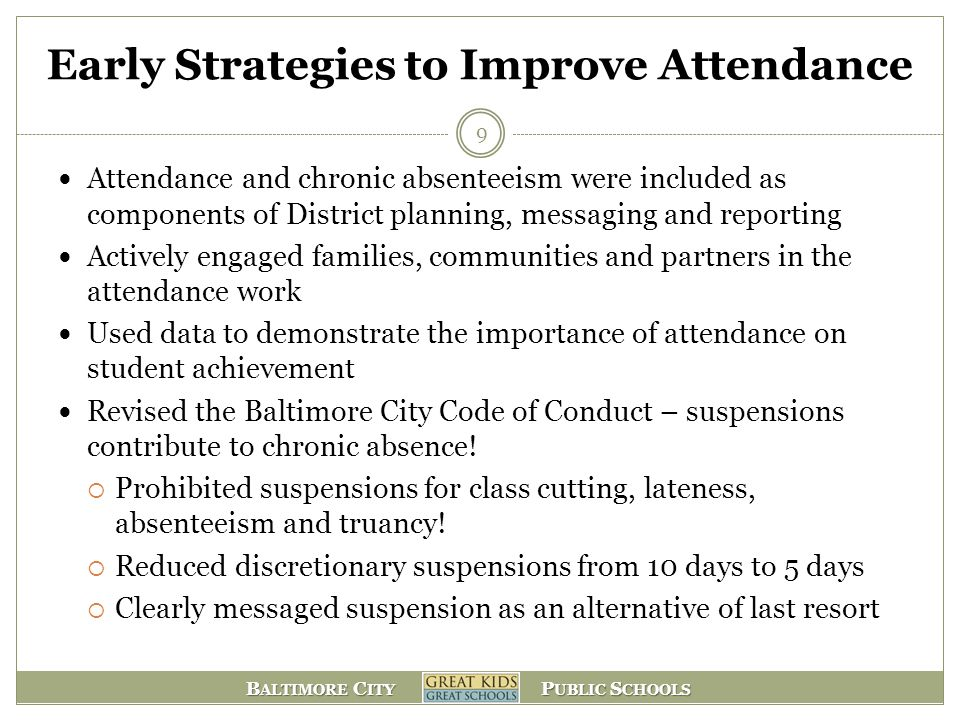 B ALTIMORE C ITY P UBLIC S CHOOLS Early Strategies to Improve Attendance Attendance and chronic absenteeism were included as components of District pl