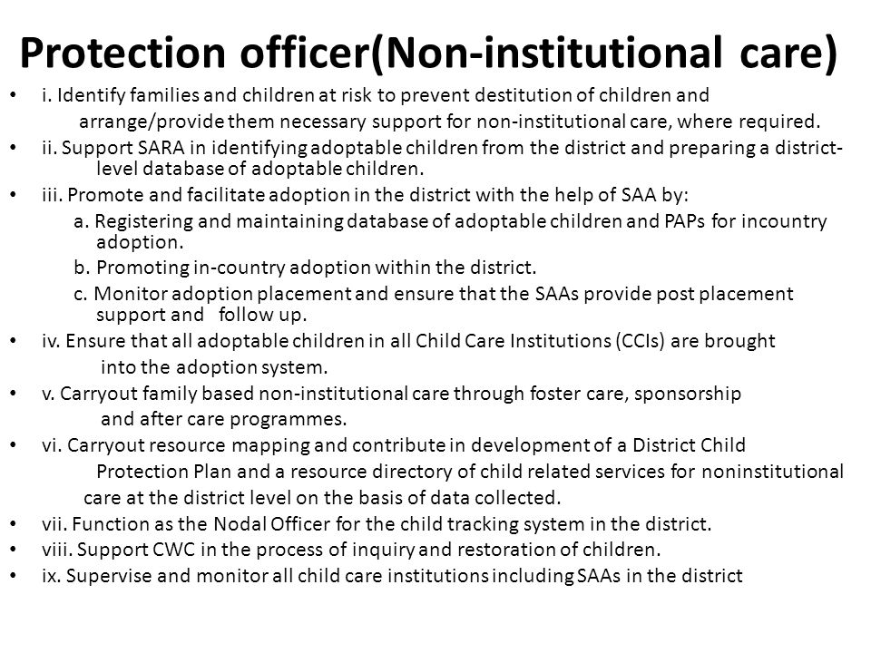 Protection officer(Non-institutional care) i.