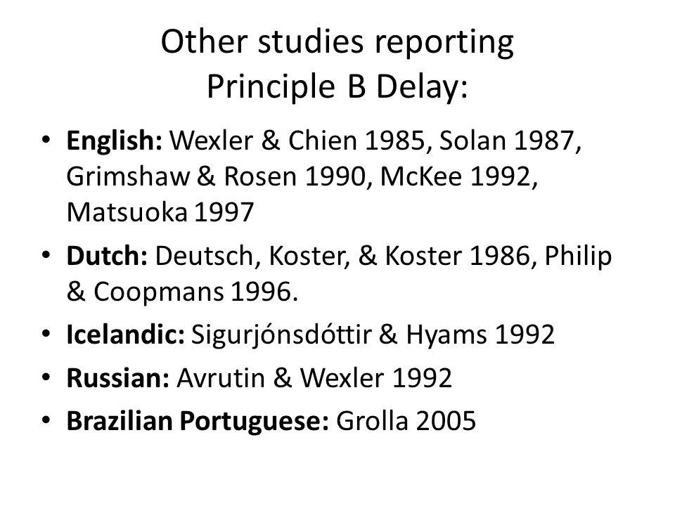 Other studies reporting Principle B Delay: English: Wexler & Chien 1985, Solan 1987, Grimshaw & Rosen 1990, McKee 1992, Matsuoka 1997 Dutch: Deutsch, Koster, & Koster 1986, Philip & Coopmans 1996.