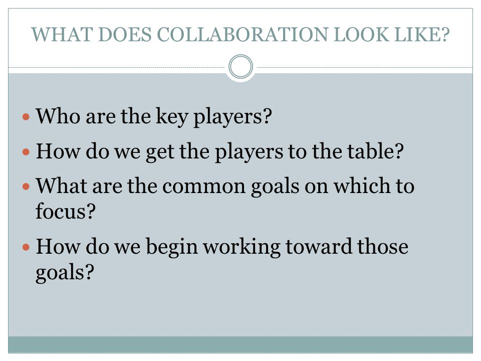 WHAT DOES COLLABORATION LOOK LIKE.Who are the key players.