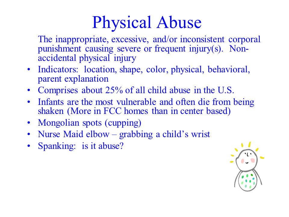 Physical Abuse The inappropriate, excessive, and/or inconsistent corporal punishment causing severe or frequent injury(s).