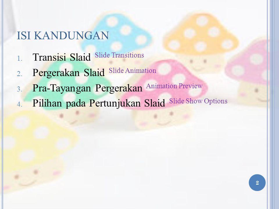 ISI KANDUNGAN 1.Transisi Slaid Slide Transitions 2.