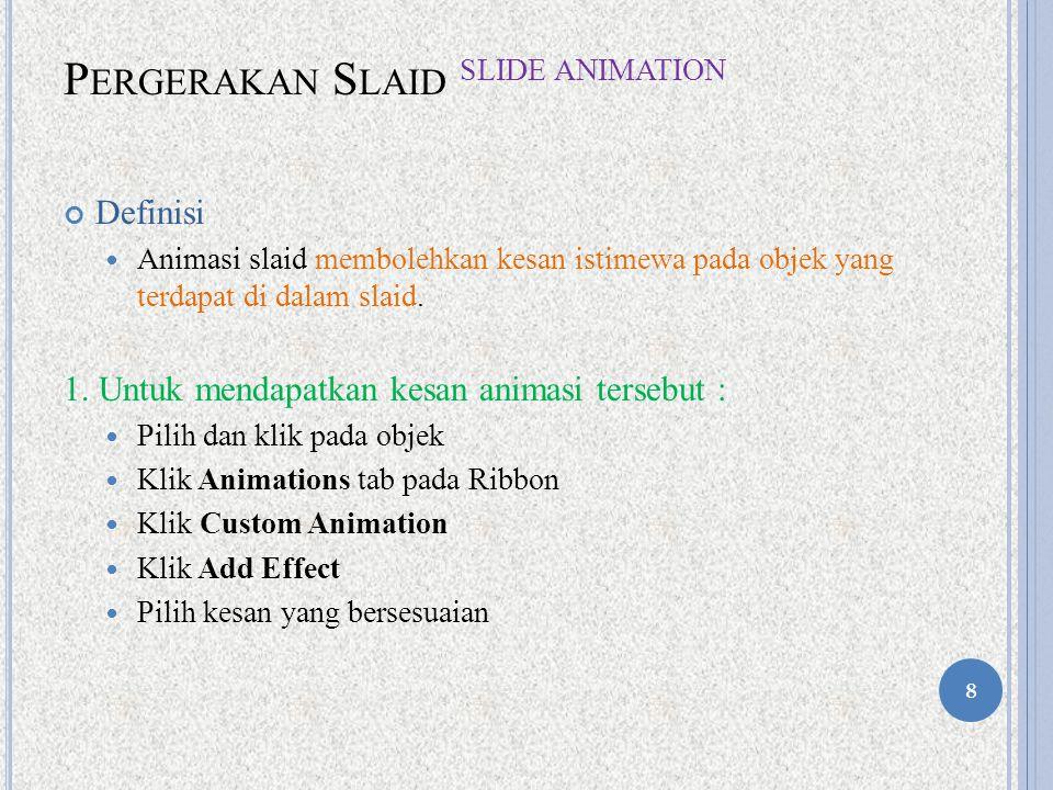 P ERGERAKAN S LAID S LIDE A NIMATION Definisi Animasi slaid membolehkan kesan istimewa pada objek yang terdapat di dalam slaid.