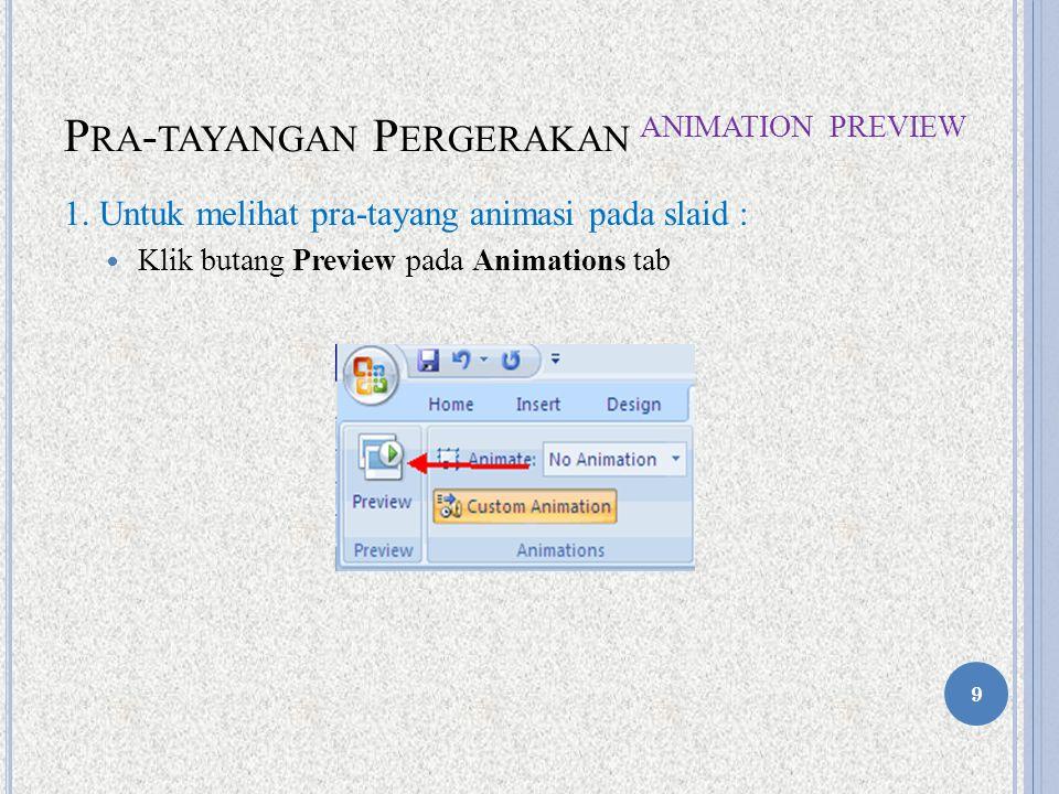 P RA - TAYANGAN P ERGERAKAN A NIMATION P REVIEW 1.