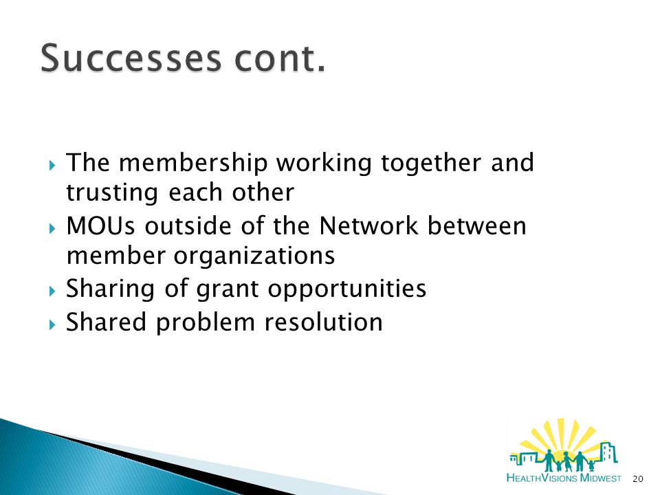  The membership working together and trusting each other  MOUs outside of the Network between member organizations  Sharing of grant opportunities  Shared problem resolution 20