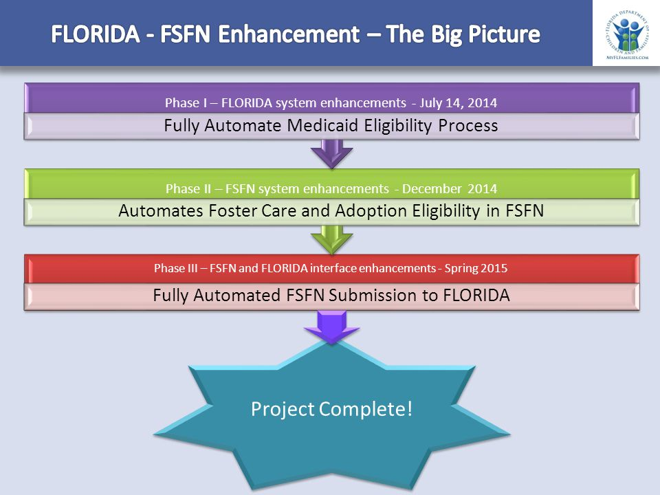 Phase III – FSFN and FLORIDA interface enhancements - Spring 2015 Fully Automated FSFN Submission to FLORIDA Phase II – FSFN system enhancements - December 2014 Automates Foster Care and Adoption Eligibility in FSFN Phase I – FLORIDA system enhancements - July 14, 2014 Fully Automate Medicaid Eligibility Process Project Complete!