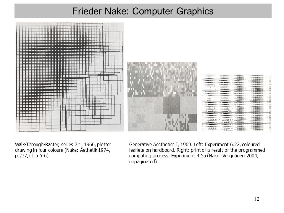 12 Frieder Nake: Computer Graphics Walk-Through-Raster, series 7.1, 1966, plotter drawing in four colours (Nake: Ästhetik 1974, p.237, ill.