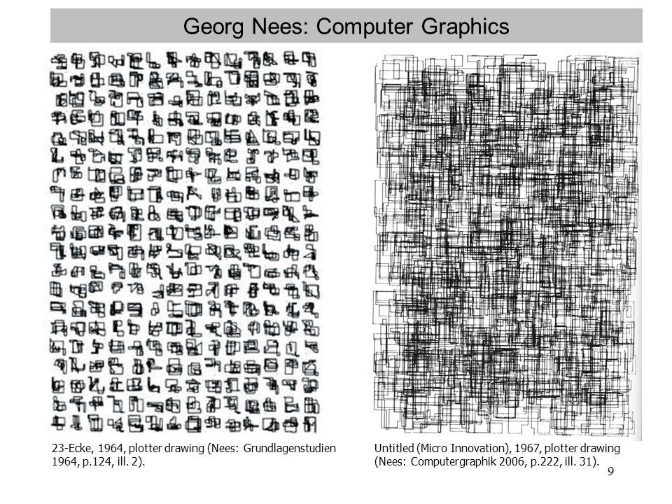 9 Georg Nees: Computer Graphics 23-Ecke, 1964, plotter drawing (Nees: Grundlagenstudien 1964, p.124, ill.