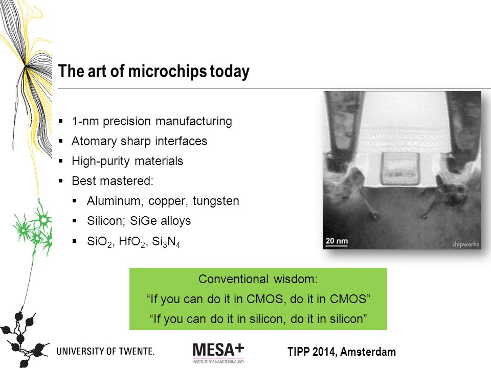 TIPP 2014, Amsterdam The art of microchips today  1-nm precision manufacturing  Atomary sharp interfaces  High-purity materials  Best mastered:  Aluminum, copper, tungsten  Silicon; SiGe alloys  SiO 2, HfO 2, Si 3 N 4 Conventional wisdom: If you can do it in CMOS, do it in CMOS If you can do it in silicon, do it in silicon