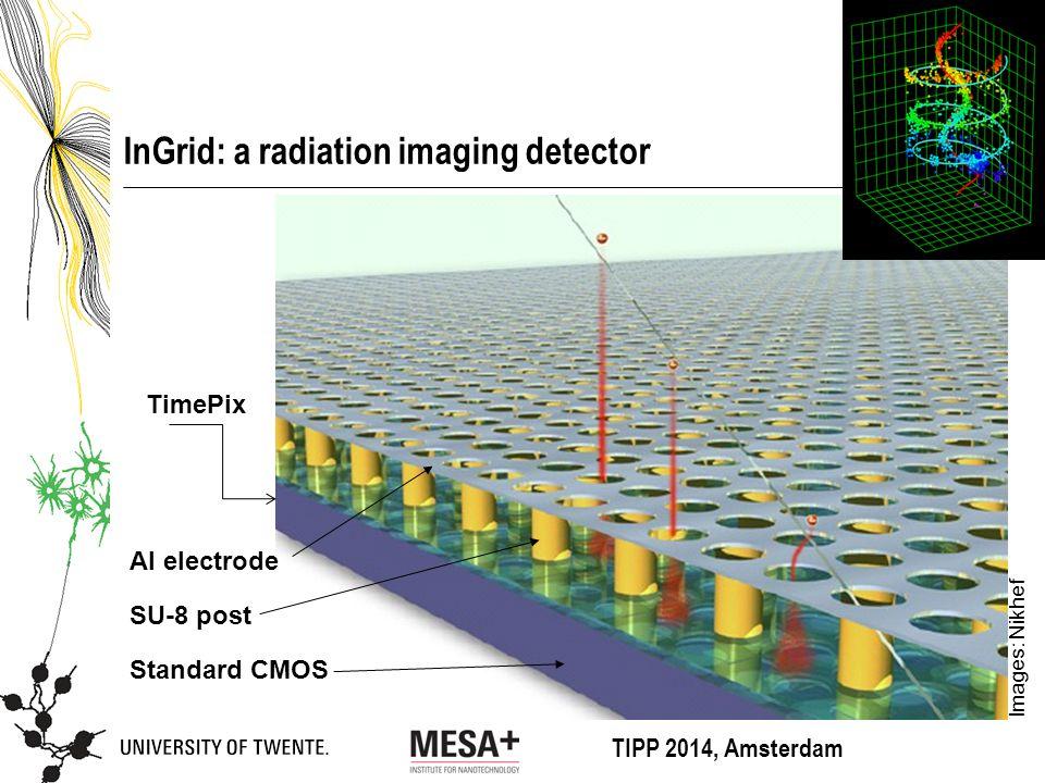 TIPP 2014, Amsterdam InGrid: a radiation imaging detector Standard CMOS SU-8 post Al electrode Images: Nikhef TimePix