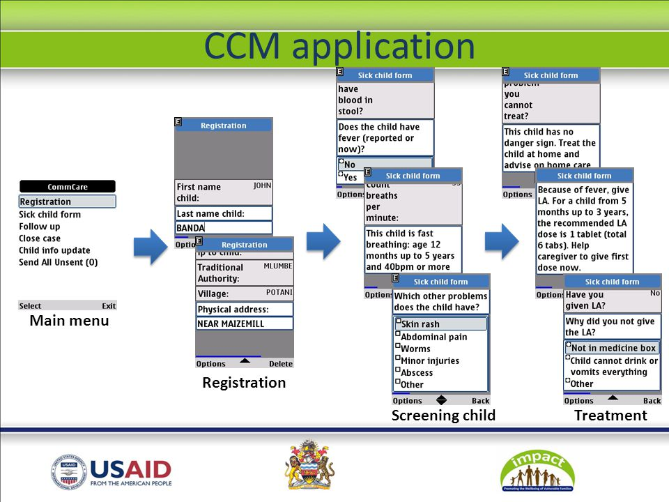 Registration Screening childTreatment Main menu