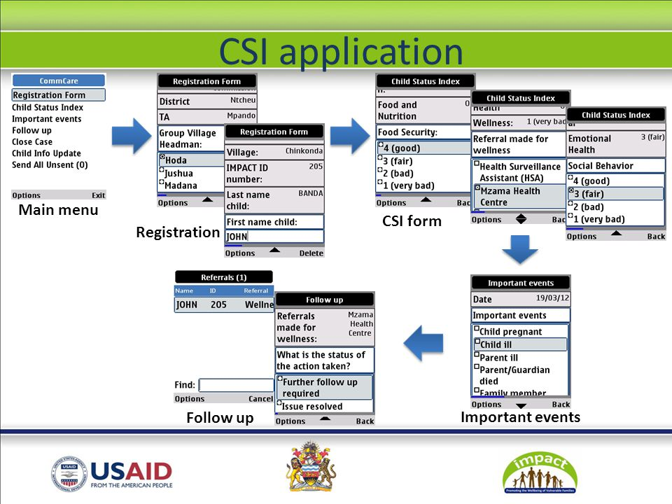 Registration CSI form Main menu Important events Follow up