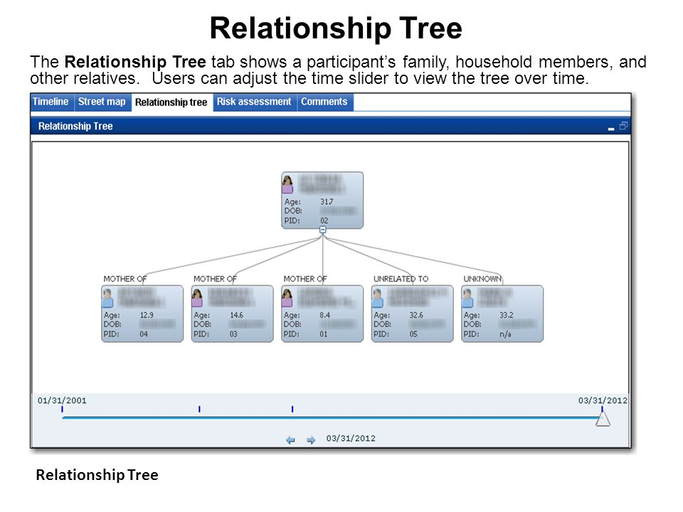Relationship Tree The Relationship Tree tab shows a participant's family, household members, and other relatives. Users can adjust the time slider to