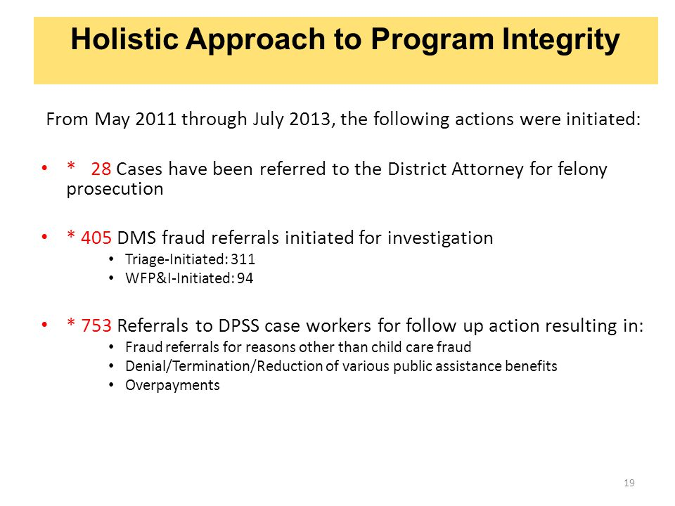 19 Holistic Approach to Program Integrity From May 2011 through July 2013, the following actions were initiated: * 28 Cases have been referred to the