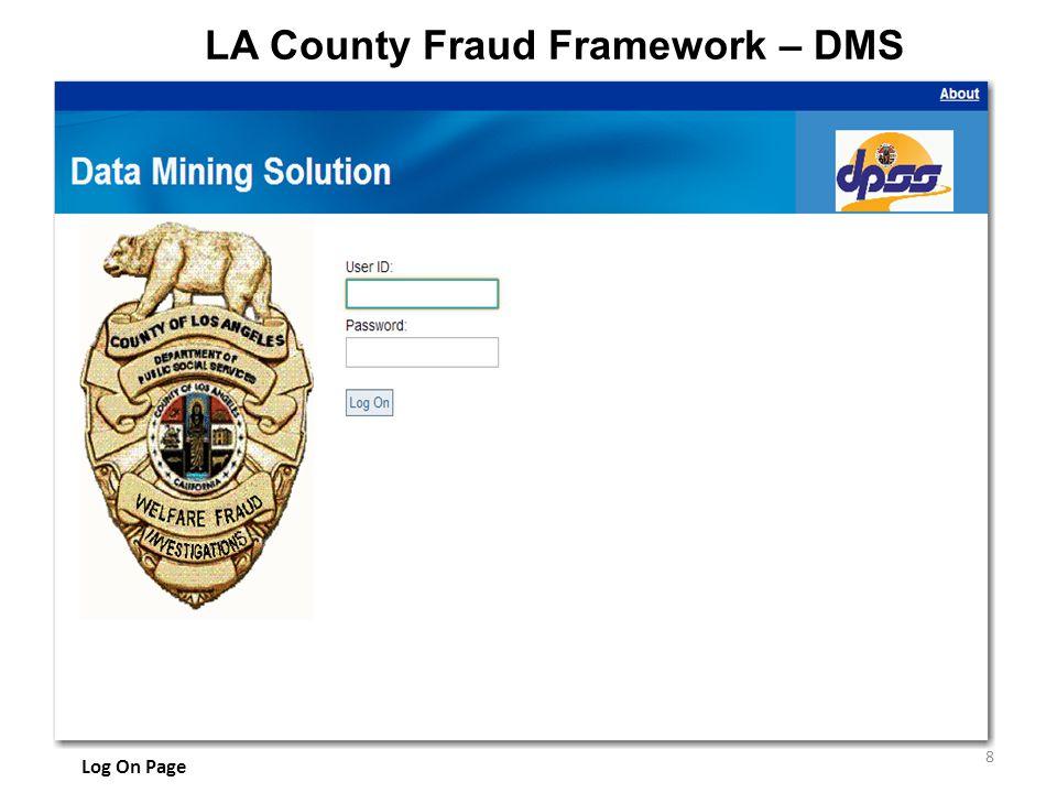 LA County Fraud Framework – DMS 8 Log On Page