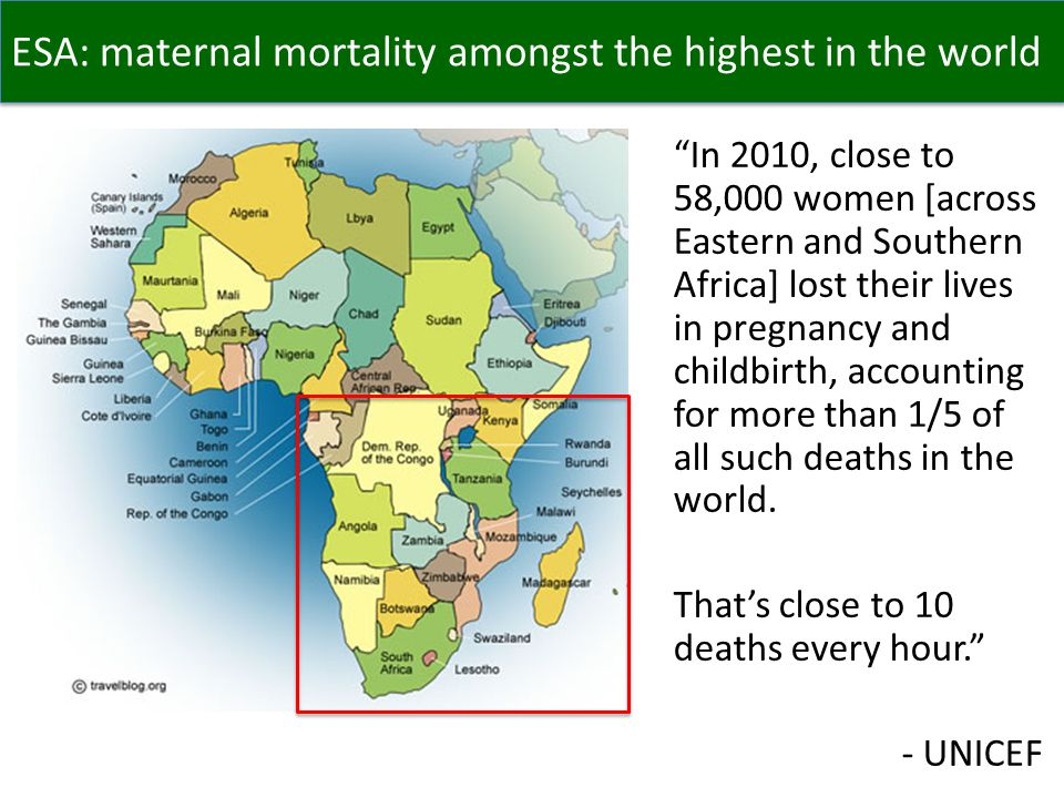 ESA: maternal mortality amongst the highest in the world In 2010, close to 58,000 women [across Eastern and Southern Africa] lost their lives in pregnancy and childbirth, accounting for more than 1/5 of all such deaths in the world.